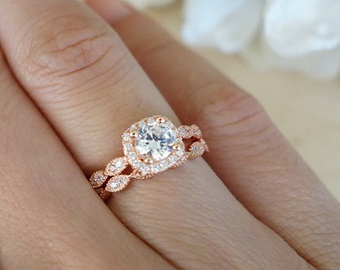art deco rose gold ring